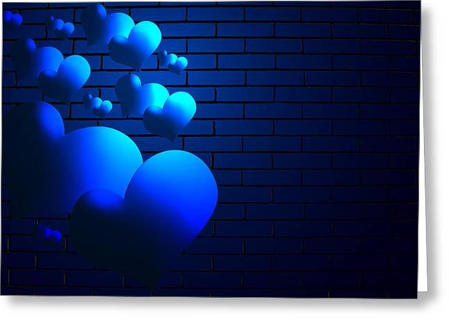 Cuori Blu Greeting Card by Orazio Puccio