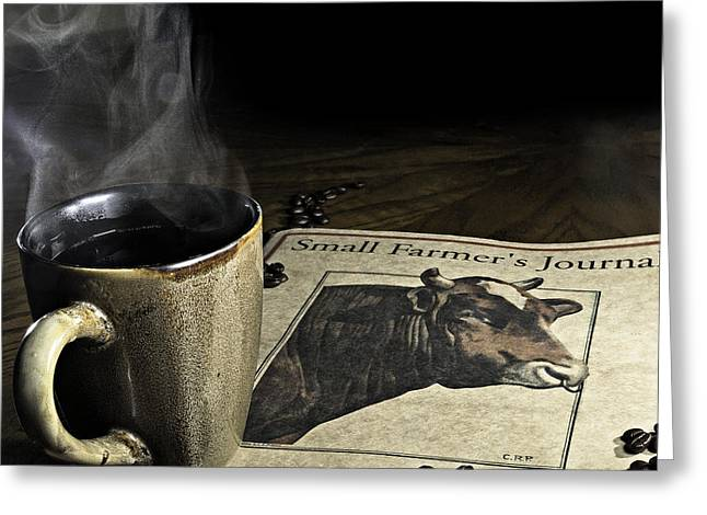 Greeting Card featuring the photograph Cup Of Coffee And Small Farmer's Journal 1 by James Sage