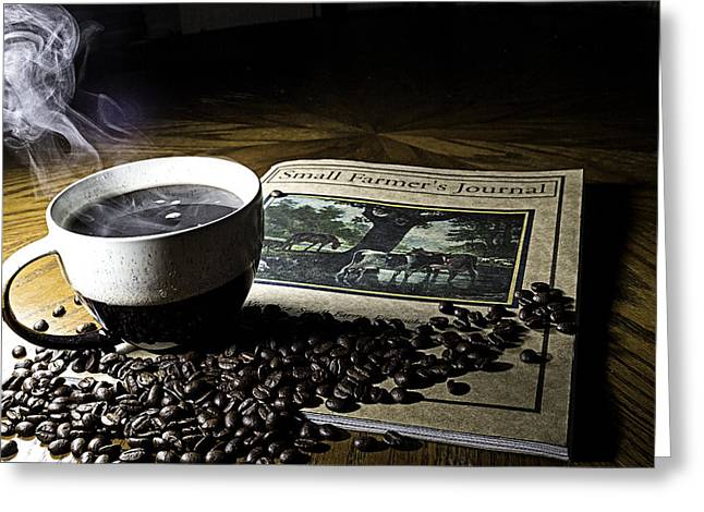 Cup Of Coffee And Small Farmer's Journal 2 Greeting Card