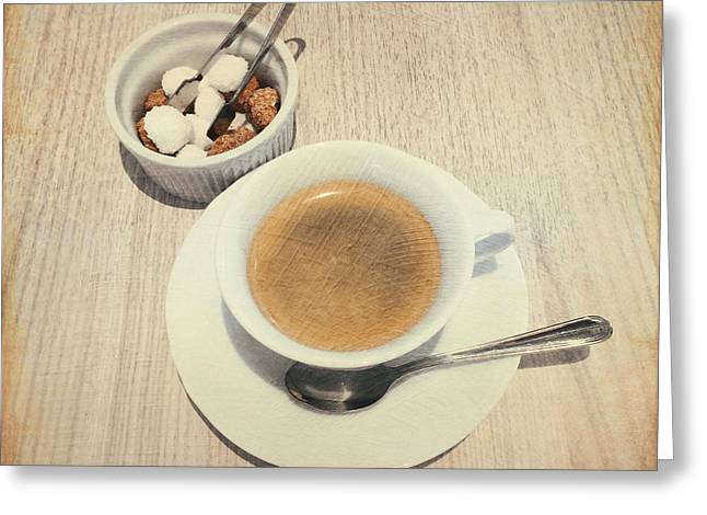 Cup Of Coffee And Sugar Cubes For You Greeting Card