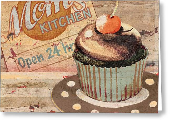 Cupcake Baking Sign I Greeting Card by Paul Brent