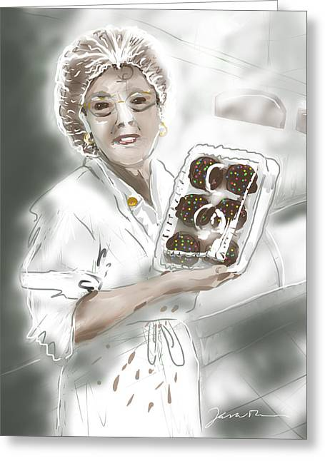Greeting Card featuring the painting Cupcake Marge by Jean Pacheco Ravinski