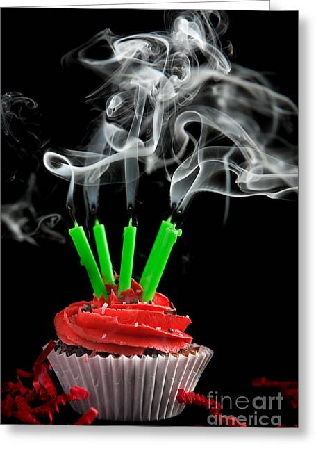 Cupcake With Candles Blown Out Greeting Card by Cindy Singleton