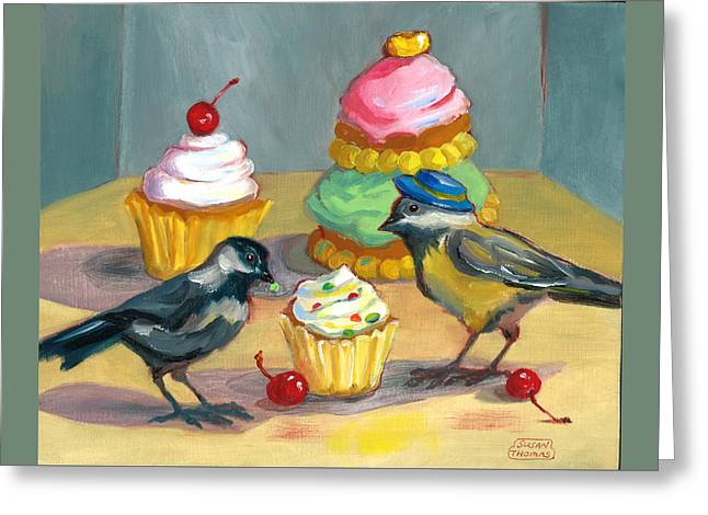 Cupcakes And Chickadees Greeting Card