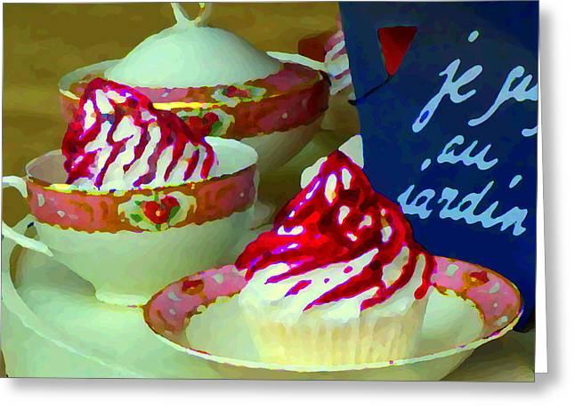 Cupcakes And Tea Je Suis Au Jardin Coffee Shop City Scene Cafe Montreal Food  Art Carole Spandau Greeting Card by Carole Spandau