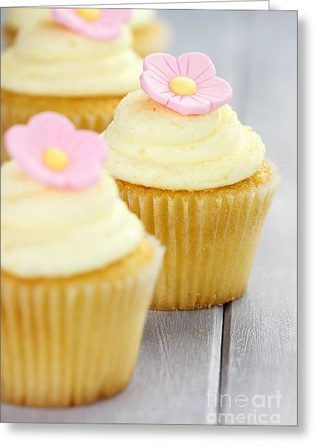Cupcakes In A Row Greeting Card by Stephanie Frey
