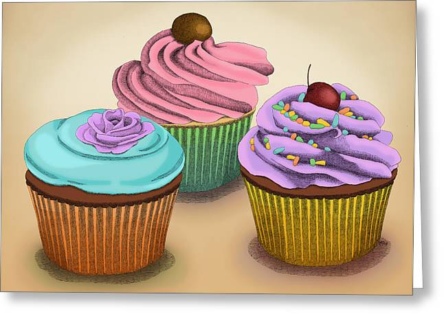 Greeting Card featuring the drawing Cupcakes by Meg Shearer