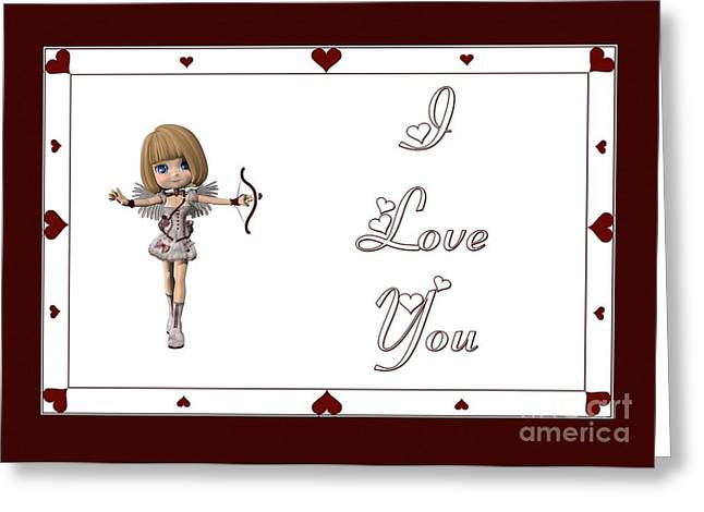 Cupid Fairy I Love You Greeting Card by JH Designs