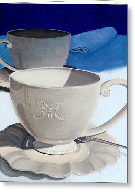 Cups Of Coffee In A Quiet Room Greeting Card by Karyn Robinson