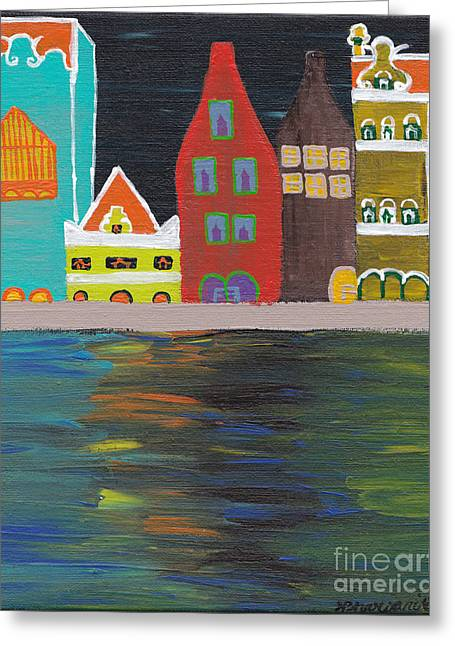 Curacao Nights Greeting Card by Melissa Vijay Bharwani