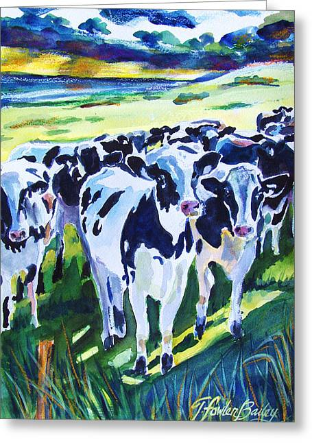 Curiosity Cows Original Sold Prints Available Greeting Card by Therese Fowler-Bailey
