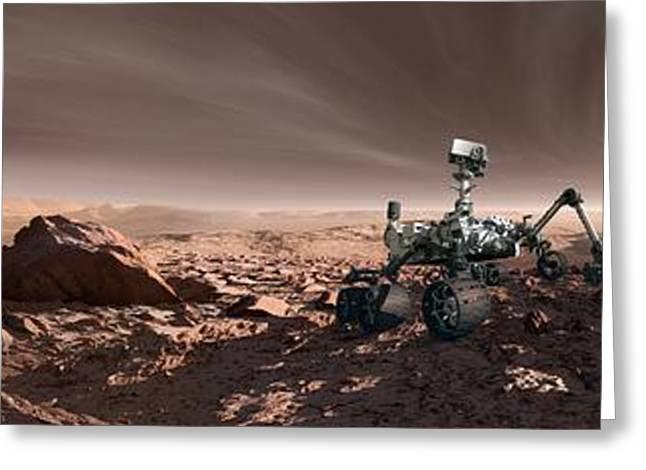 Curiosity Rover On Mars, Artwork Greeting Card