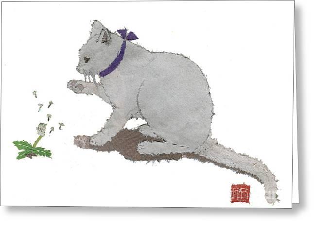 Cat Art Hand-torn Newspaper Painting  Greeting Card by Keiko Suzuki