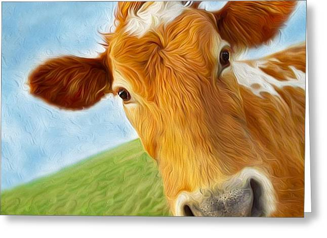 Curious Cow Greeting Card by Jo Collins