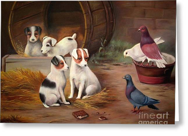 Greeting Card featuring the painting Curious Friends by Hazel Holland