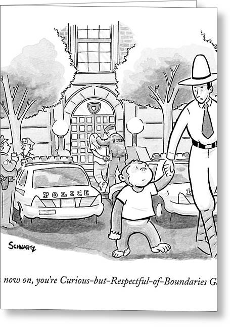 Curious George Is Escorted Out Of A Police Greeting Card