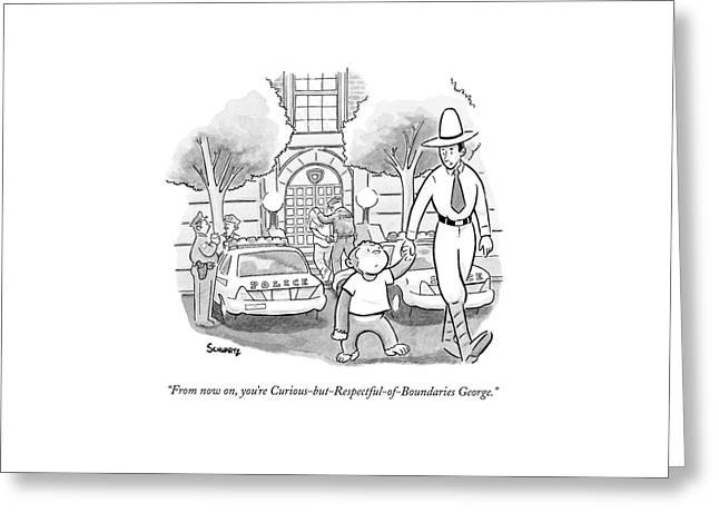 Curious George Is Escorted Out Of A Police Greeting Card by Benjamin Schwartz