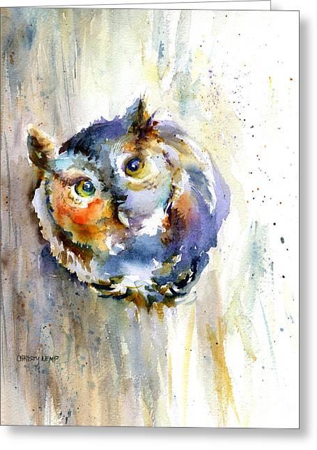 Curious Screech Owl Greeting Card by Christy Lemp