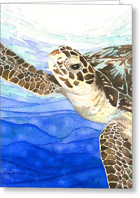Curious Sea Turtle Greeting Card