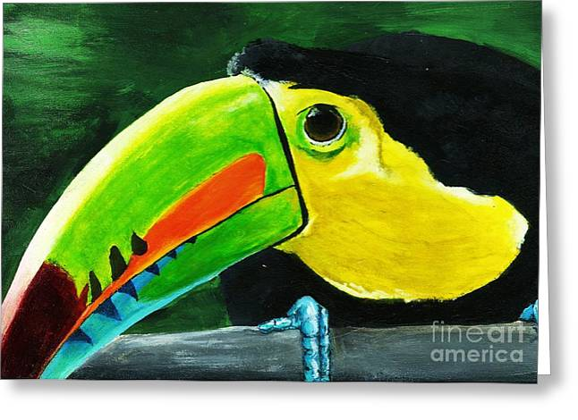 Curious Toucan Greeting Card by Laura Charlesworth