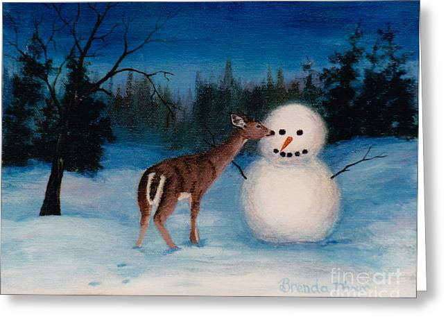 Greeting Card featuring the painting Curiousity by Brenda Thour