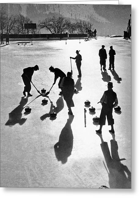 Curling At St. Moritz Greeting Card by Underwood Archives