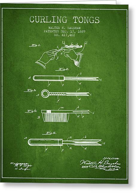 Curling Tongs Patent From 1889 - Green Greeting Card by Aged Pixel