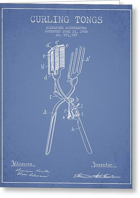 Curling Tongs Patent From 1908 - Light Blue Greeting Card by Aged Pixel