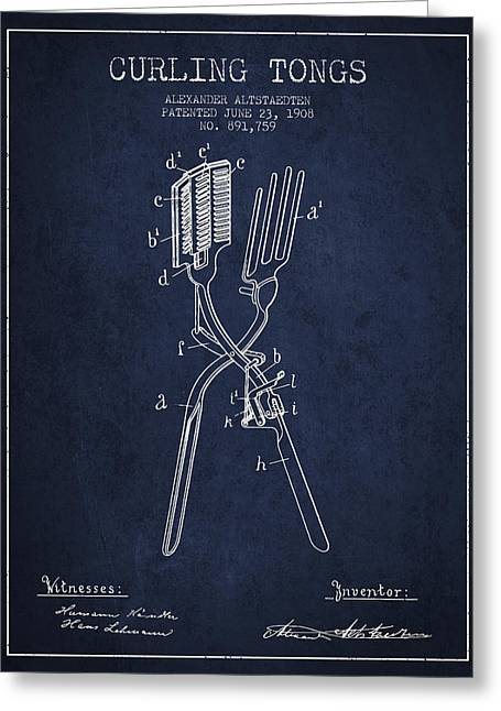 Curling Tongs Patent From 1908 - Navy Blue Greeting Card by Aged Pixel