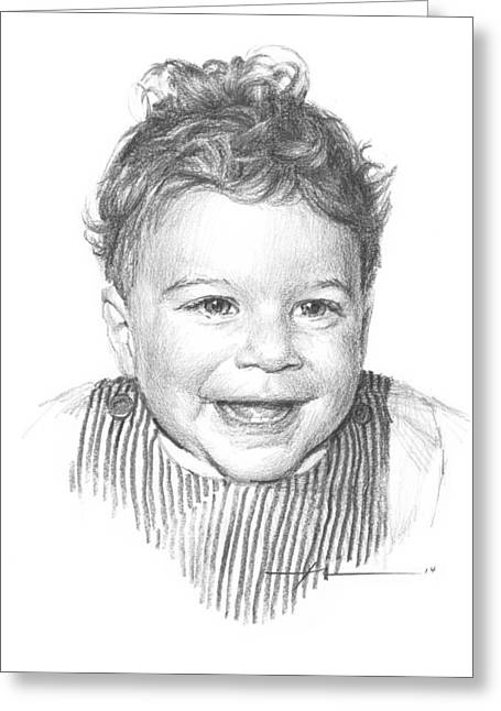 Curly Hair Baby Boy Pencil Portrait Greeting Card By Mike Theuer