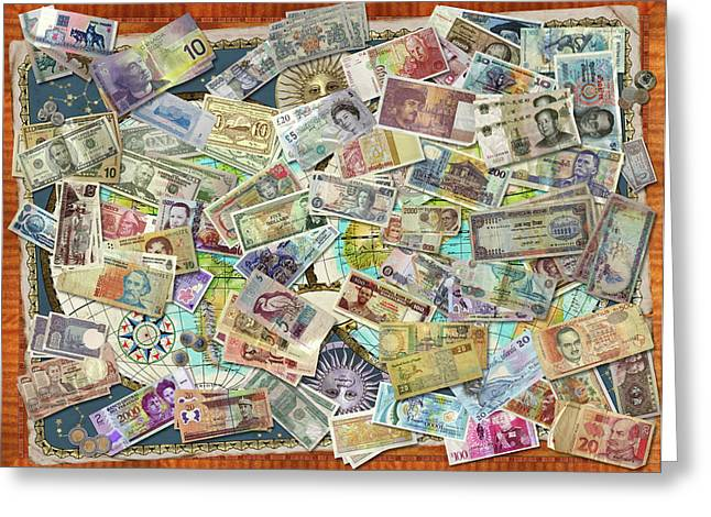 Currency Map Greeting Card by Garry Walton