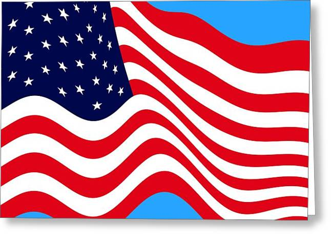 Current American Flag Flying Cropped Greeting Card