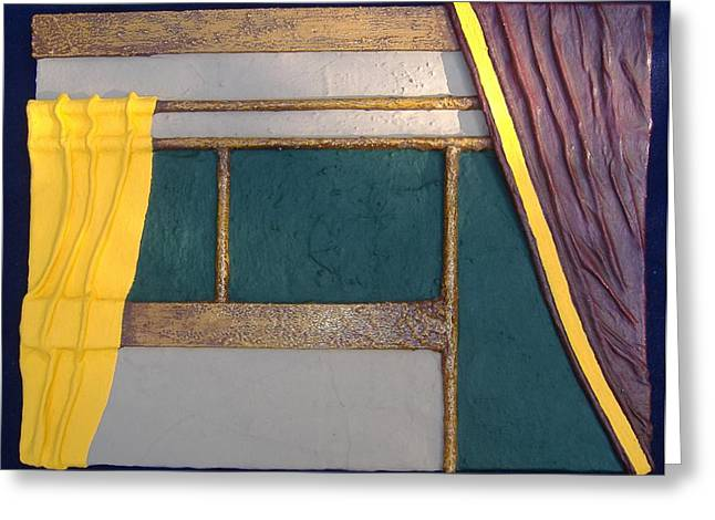 Greeting Card featuring the painting Curtain by Steve  Hester