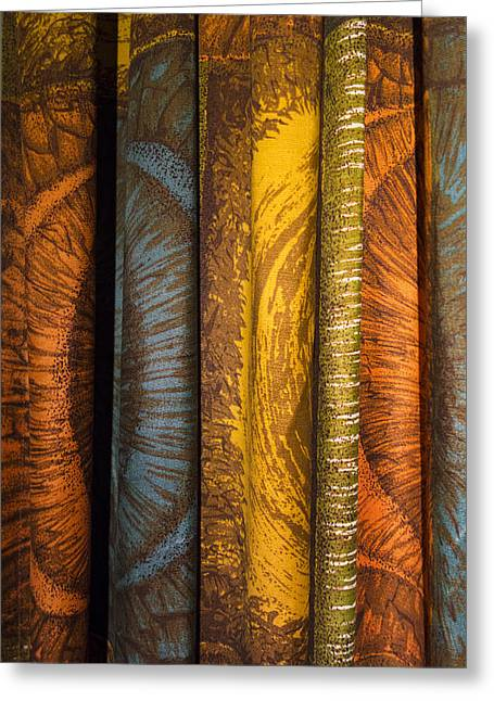 Curtain With Beautiful Yellow Orange Golden Brown And Blue Colors Greeting Card