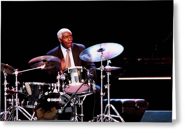 Curtis Boyd On Drums Greeting Card by Cleaster Cotton