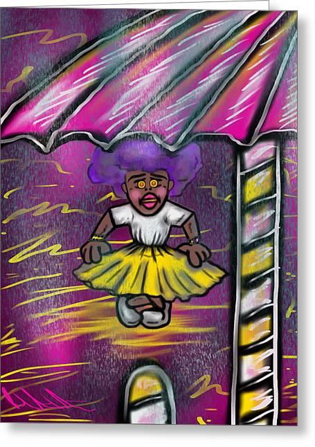 Curtsy Doll Rain Greeting Card