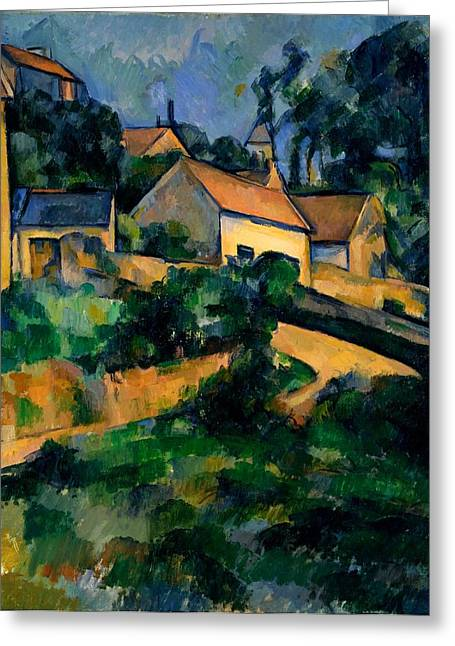 Curve In The Road At Montgeroult Greeting Card by Paul Cezanne