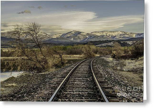 Curve In The Tracks Greeting Card