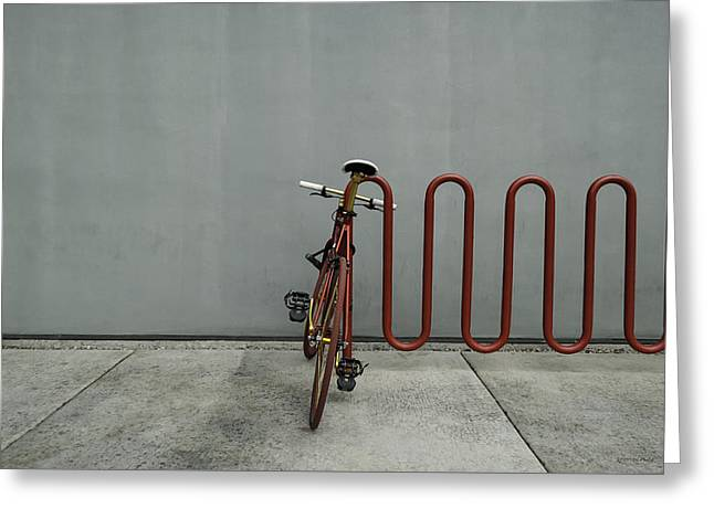 Greeting Card featuring the photograph Curved Rack In Red - Urban Parking Stalls by Steven Milner