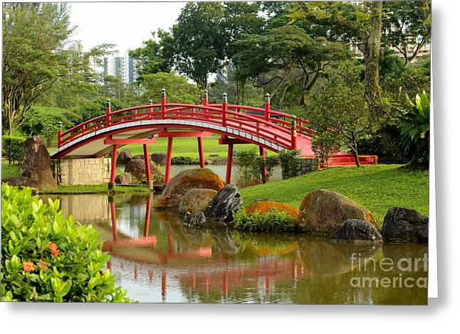 Curved Red Japanese Bridge And Stream Chinese Gardens Singapore Greeting Card