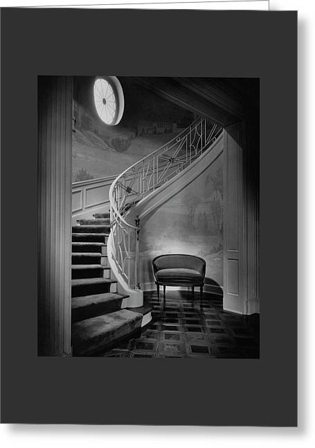 Curving Staircase In The Home Of  W. E. Sheppard Greeting Card by Maynard Parker