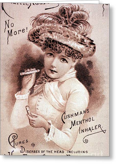 Cushmans Menthol Inhaler-headache Cure Greeting Card by Science Source