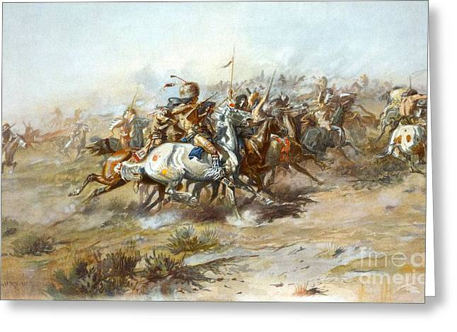 Custers Fight Greeting Card by Pg Reproductions