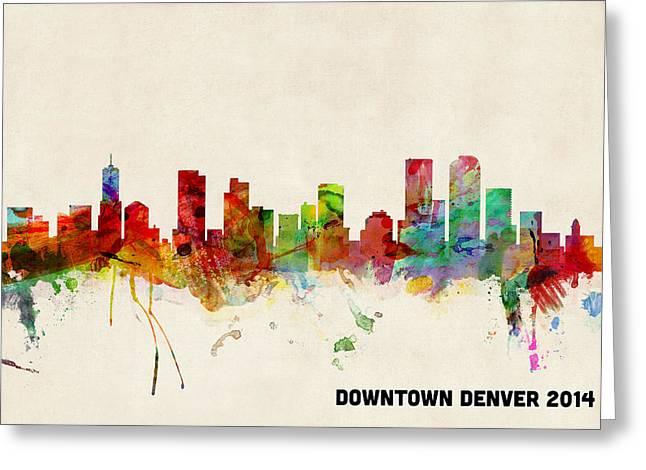 Custom Denver Skyline Greeting Card by Michael Tompsett