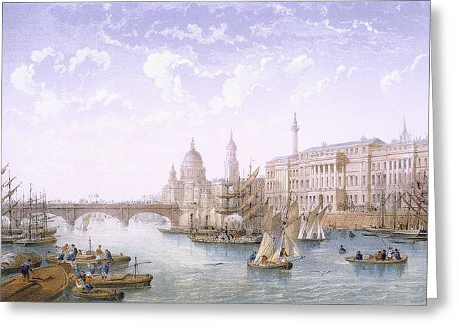 Custom House And London Bridge, 1862 Greeting Card