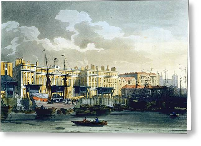 Custom House From The River Thames Greeting Card by T. & Pugin, A.C. Rowlandson