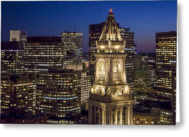 Custom House Tower At Night Greeting Card by Dave Cleaveland