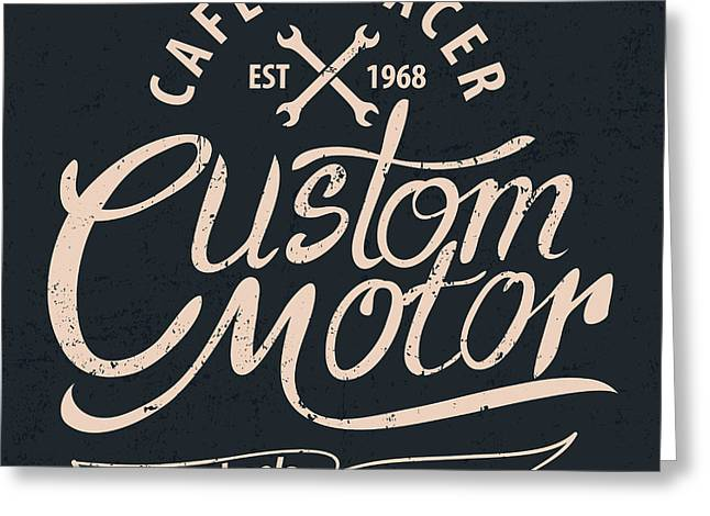 Custom Motor Typographic For Greeting Card