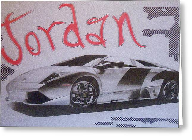 Custom Name With Lamborghini Greeting Card by G Marie