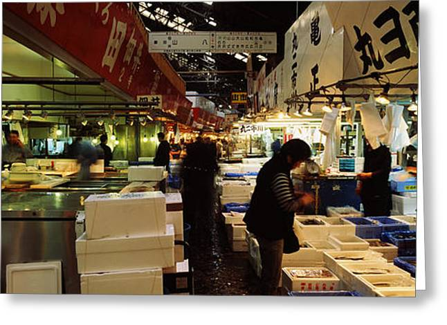 Customers Buying Fish In A Fish Market Greeting Card